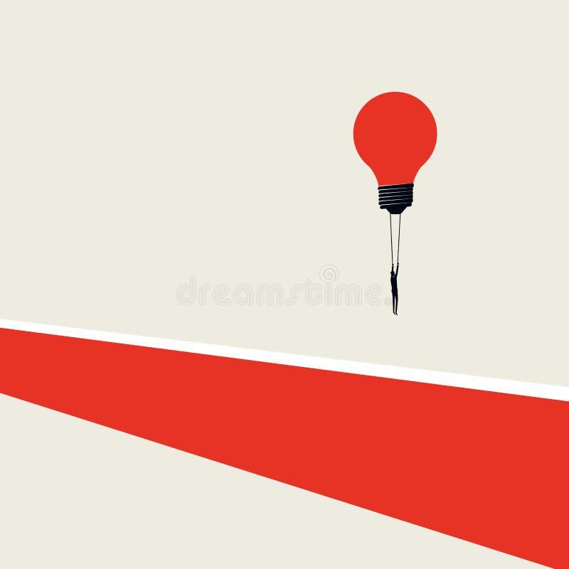 Geschäftslösung, überwundenes Herausforderungsvektorkonzept Unbedeutende Kunstart Geschäftsmannfliegen-Glühlampenballon vorbei lizenzfreie abbildung