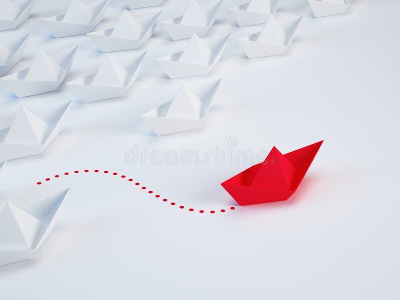 Geschäftslösung, einzigartiges Konzept der Innovation - Gruppe des Papierschiffs und eines roten Schiffs mit unterschiedlicher Ar lizenzfreie abbildung