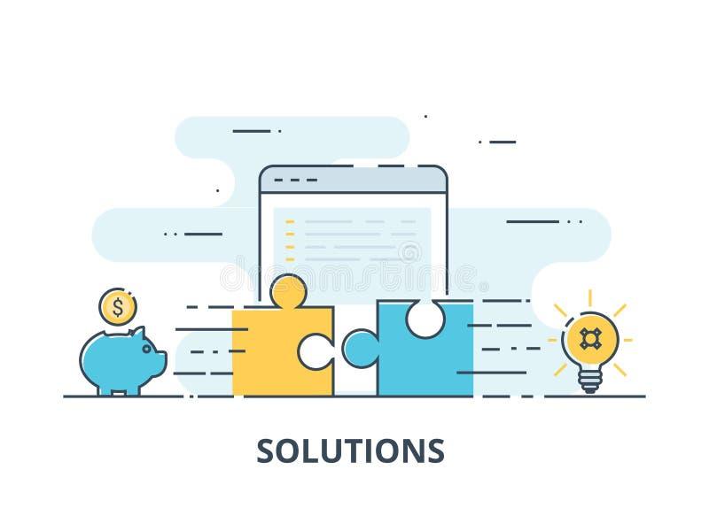 Geschäftslösungen, Erfolg und Strategiekonzept Geschäftsmannhand, die Puzzlen anschließt stock abbildung