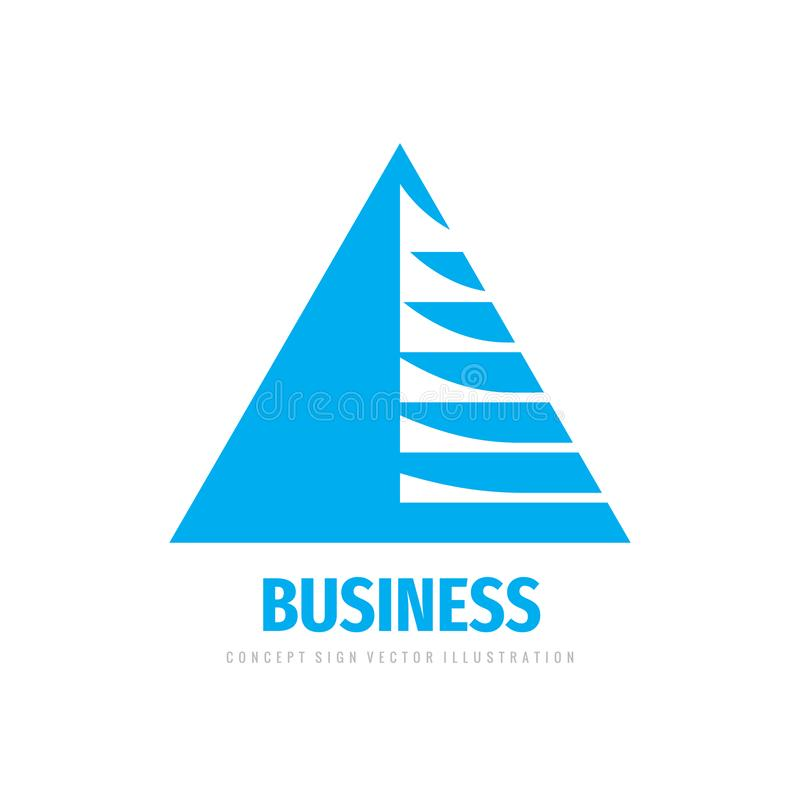 Geschäftslösungs-Logoentwurf Elektronisches Technologiezeichen Dreieckpyramiden-Formsymbol Erfolgsfortschritts-Wachstumsinsignien stock abbildung