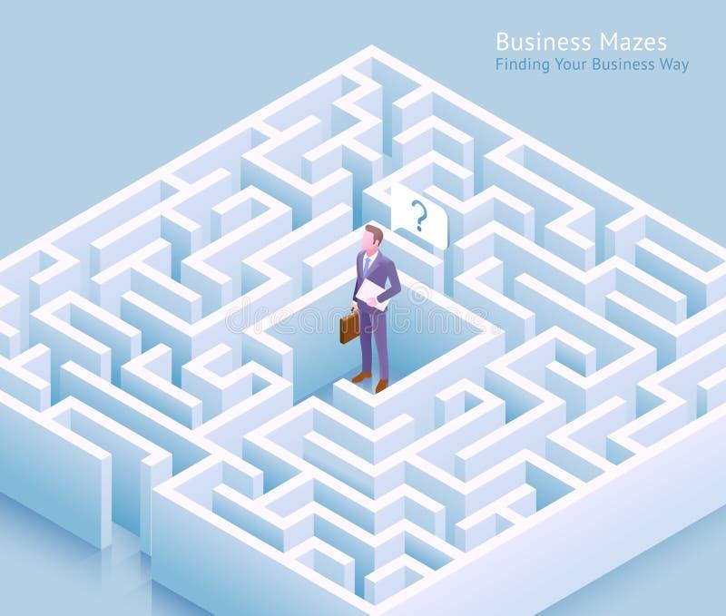 Geschäftslabyrinth-Begriffsentwurf Geschäftsmannstellung am Labyrinth und Denken an das Finden eines Auswegvektors lizenzfreie abbildung