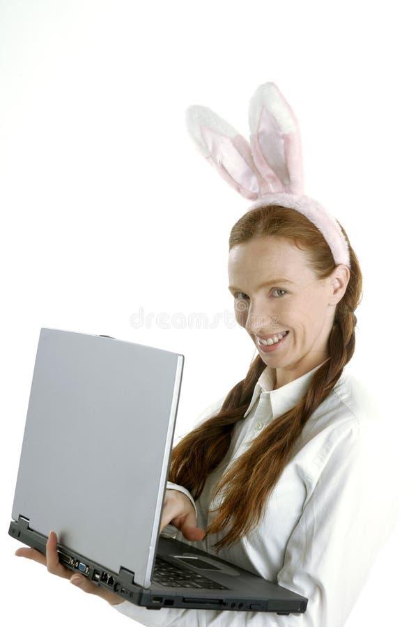 Geschäftslaptopfrau, Stimmung und Kaninchenohren stockbilder