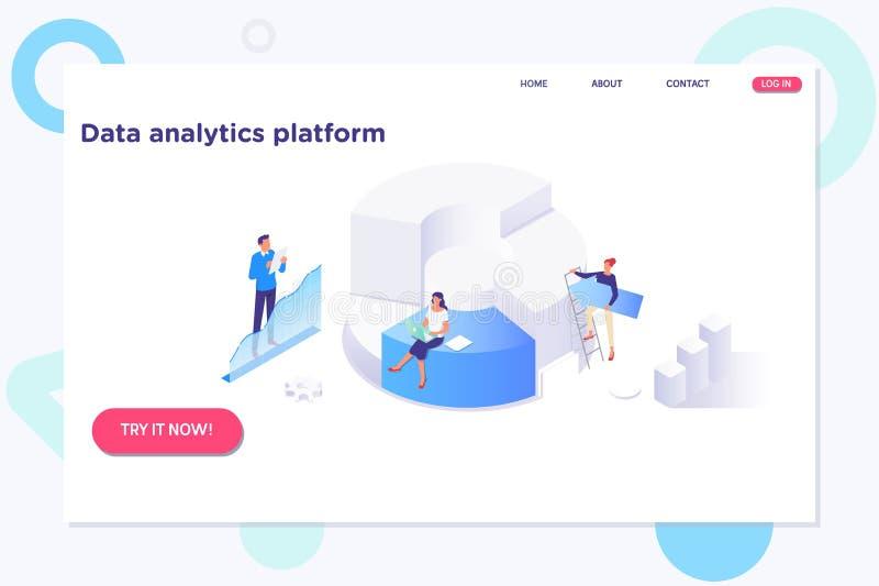 Geschäftsleute Analyse-denkende Finanzwachstums-Erfolgs- Daten Analytics-Statistik-Technologie-Informations-Konzept vektor abbildung