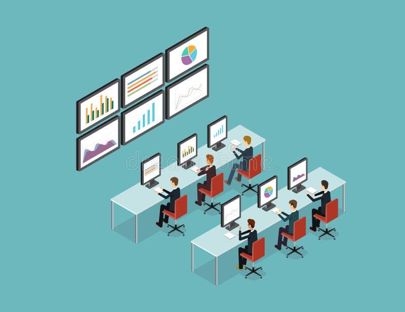 Geschäftsleute analytisch auf Monitordiagrammbericht und SEO über Netz Flacher Vektor arbeitsplatz büro Getrennt über weißem Hint vektor abbildung