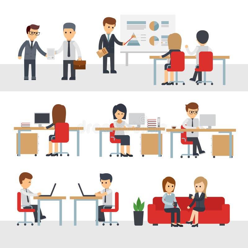 Geschäftsleute Arbeit an der Bürovektorzeichentrickfilm-figur stock abbildung