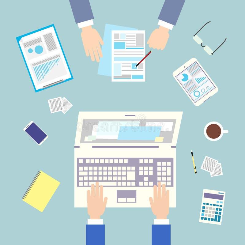 Geschäftsleute Arbeitsplatzspitzenwinkel über Ansicht lizenzfreie abbildung