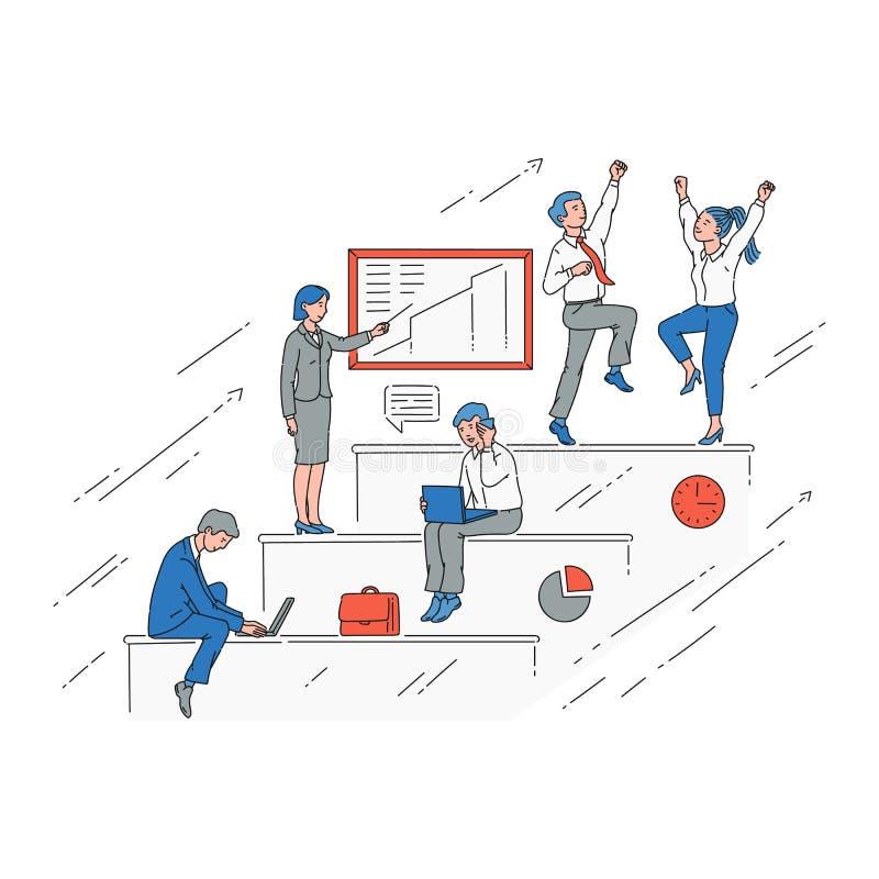 Geschäftsleute auf dem Karrierewachstumstreppenhaus, Vektorillustration lokalisierten lizenzfreie abbildung