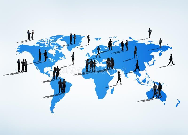 Geschäftsleute auf der ganzen Erde vektor abbildung