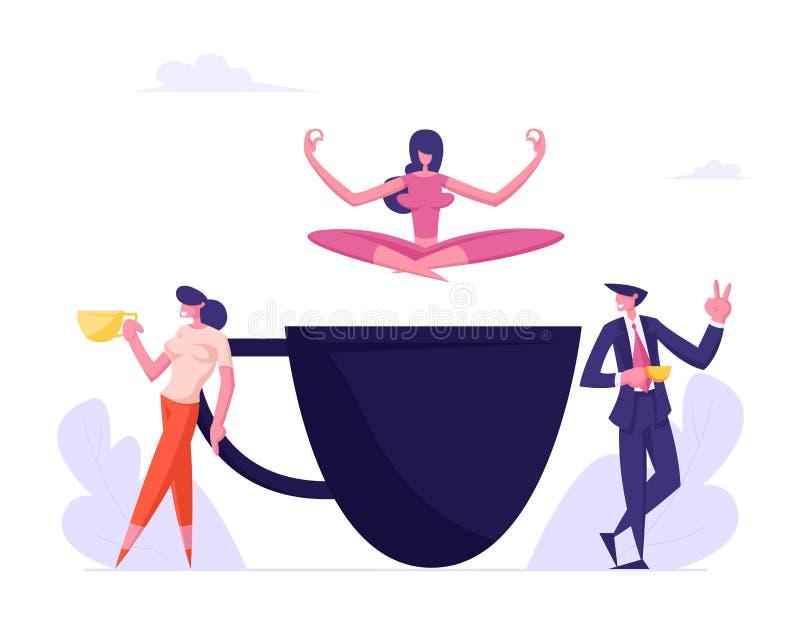 Geschäftsleute auf Kaffeepause, junges Mädchen, das im Yoga Lotus Posture über enormer Schale sich entspannt Angestellte, die Caf stock abbildung