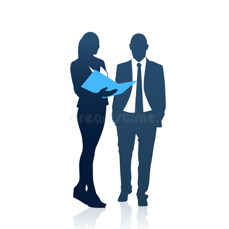 Geschäftsleute bemannen und Frauen-Team Silhouette Businesspeople Couple Hold-Dokumenten-Ordner lizenzfreie abbildung
