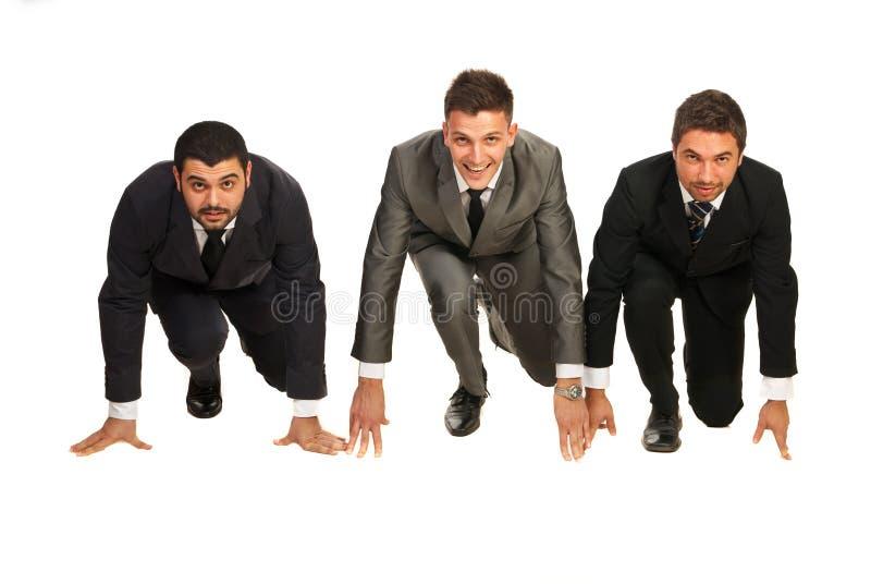 Geschäftsleute betriebsbereit zum Anfang stockbilder
