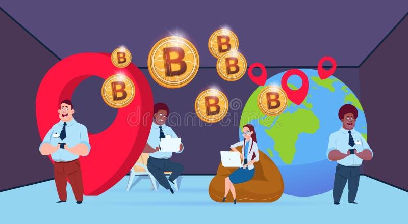 Geschäftsleute bitcoin Bergbau-Kugel mit dem geolocation Mischungs-Renngeschäftsmann, der flach Schlüsselwährung zusammenarbeitet stock abbildung