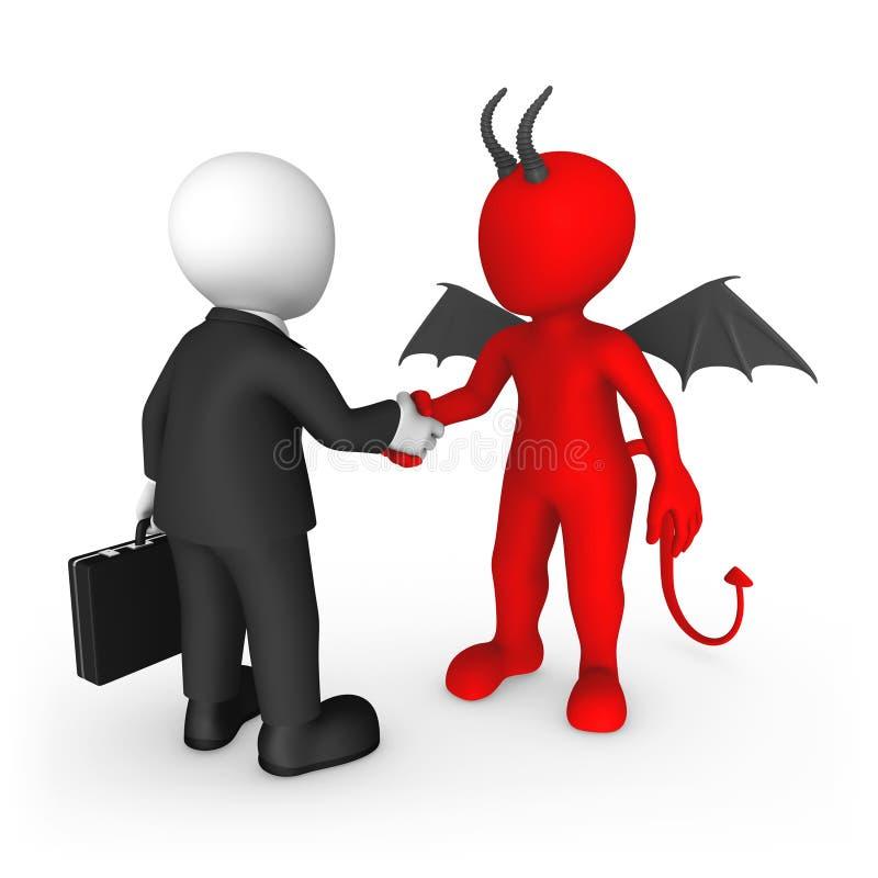 Geschäftsleute 3d: Teufelspakt vektor abbildung