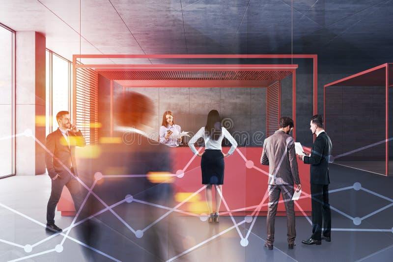 Geschäftsleute in der Büroaufnahmehalle stockfotos