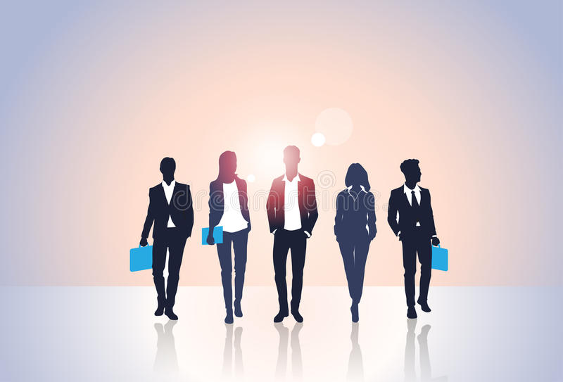 Geschäftsleute des schwarzen Schattenbild-Team Businesspeople Group Human Resources stock abbildung