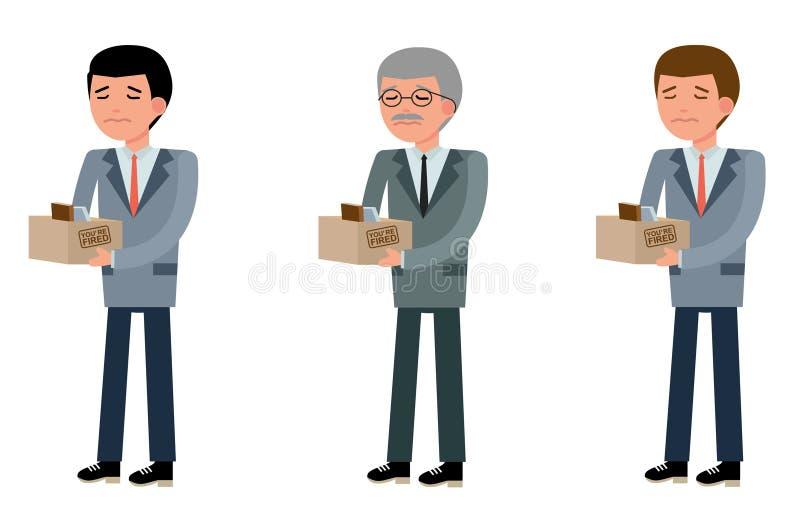 Geschäftsleute des unterschiedlichen Alters, wurden sie abgefeuert stock abbildung