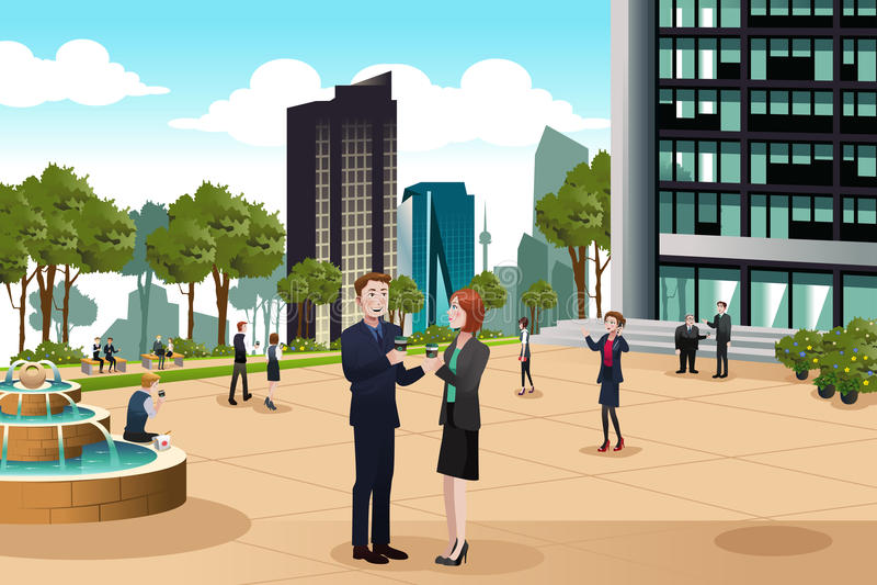 Geschäftsleute, die außerhalb ihres Bürogebäudes sprechen stock abbildung