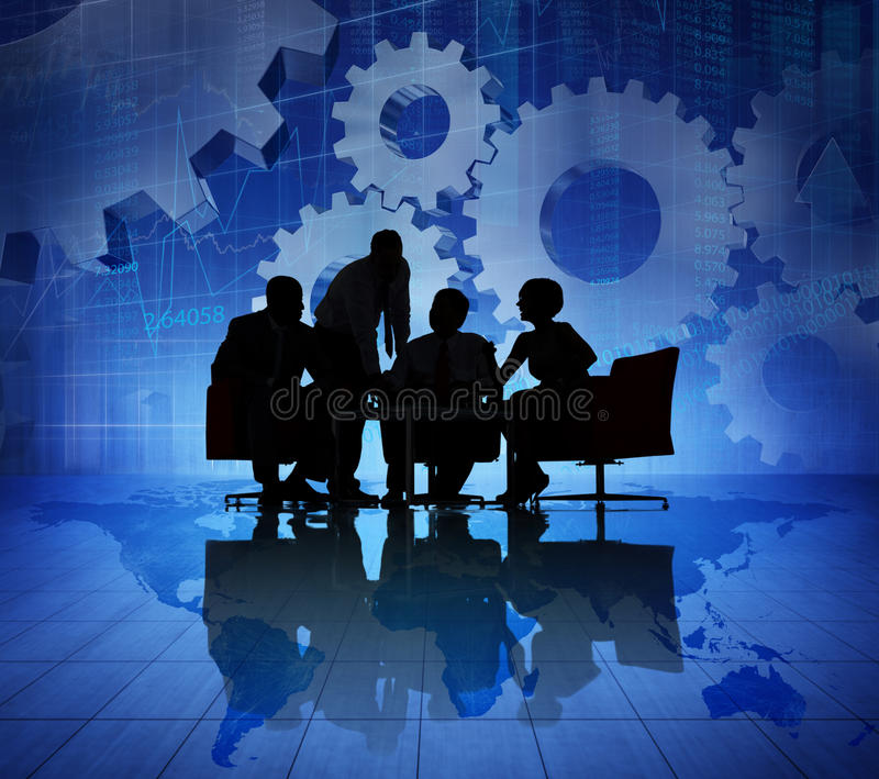 Geschäftsleute, die auf der dröhnenden Welt wirtschaftlich sich treffen lizenzfreie stockbilder