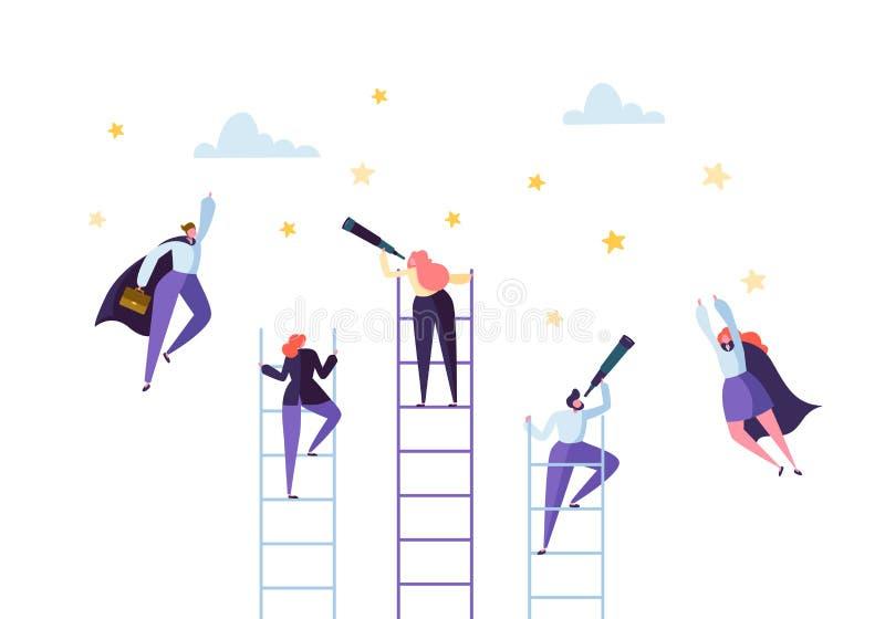 Geschäftsleute, die auf Leiter zum Erfolg klettern Wettbewerbs-Karriere, die den Ziel-Konzept-Geschäftsmann Flying zu den Sternen vektor abbildung