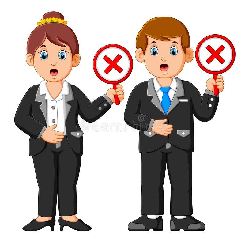 Geschäftsleute, die Ausschuss Querkennzeichenzeichenplakate zeigen vektor abbildung