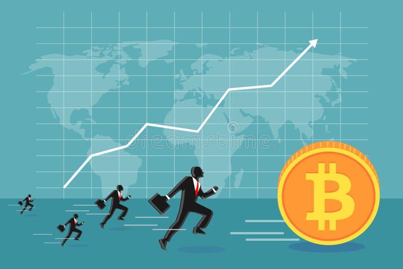 Geschäftsleute, die bitcoin kreative Illustration jagen lizenzfreie abbildung