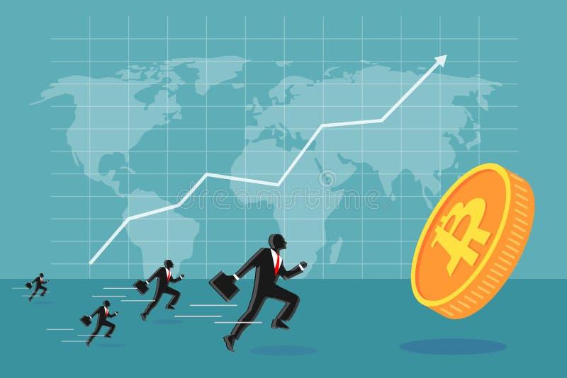 Geschäftsleute, die bitcoin kreative Illustration jagen stock abbildung