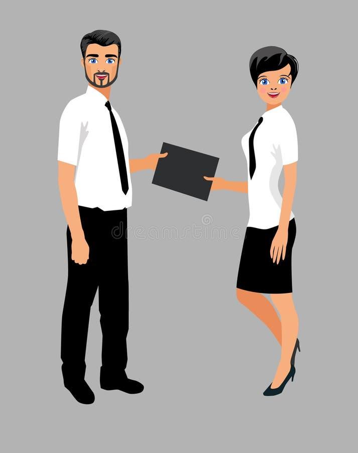Geschäftsleute, die Dokumente austauschen lizenzfreie abbildung