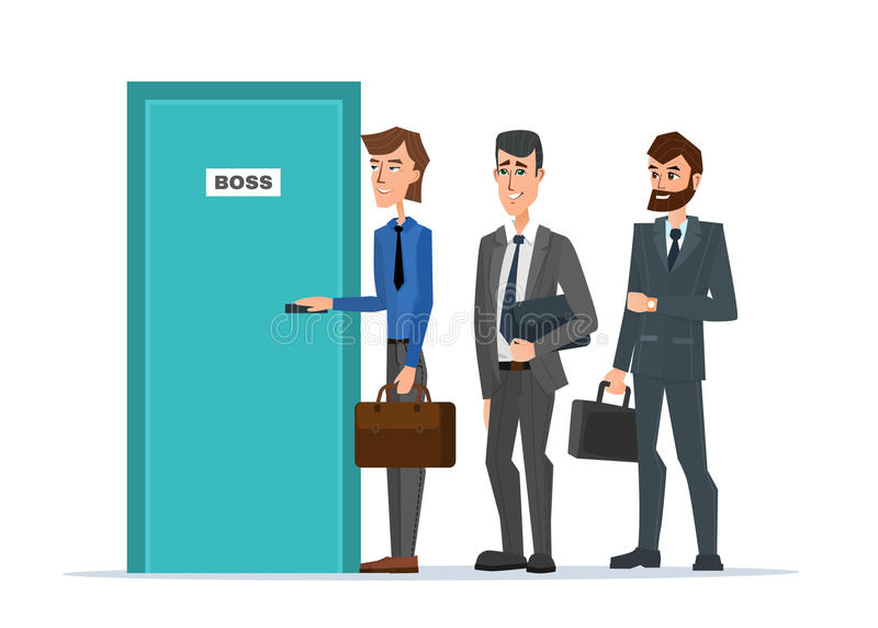 Geschäftsleute, die in einer Linie zur Tür des Chefs stehen lizenzfreie abbildung