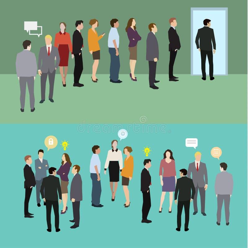 Geschäftsleute, die in einer Zeile stehen lizenzfreie abbildung