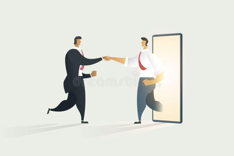 Geschäftsleute, die Hände durch die Zusammenarbeit auf Anzeigenmobile rütteln stock abbildung
