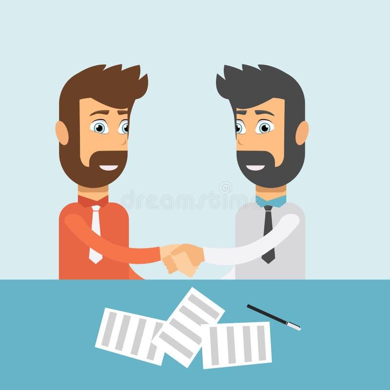 Geschäftsleute, die Hände rütteln Teilhaber, die Abkommen machen Händedruck- und Teamwork-Konzept Flacher Vektor vektor abbildung