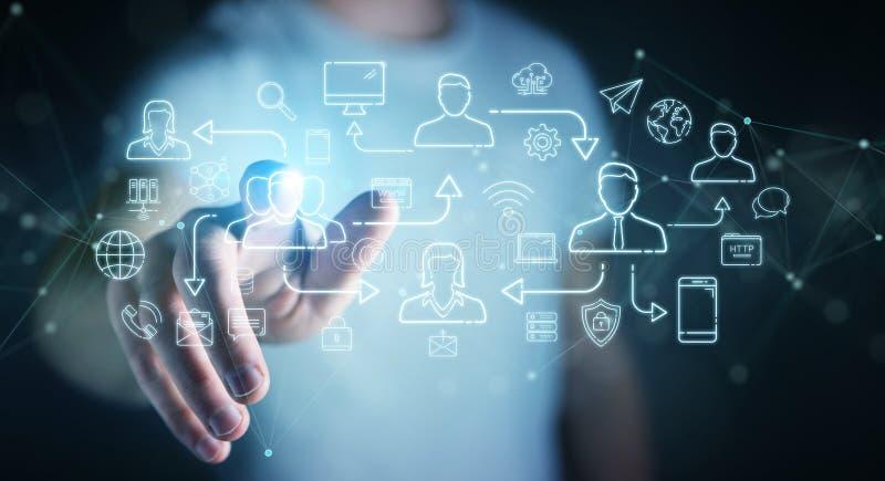 Geschäftsleute, die Icons für soziale Netzwerke verwenden stock abbildung