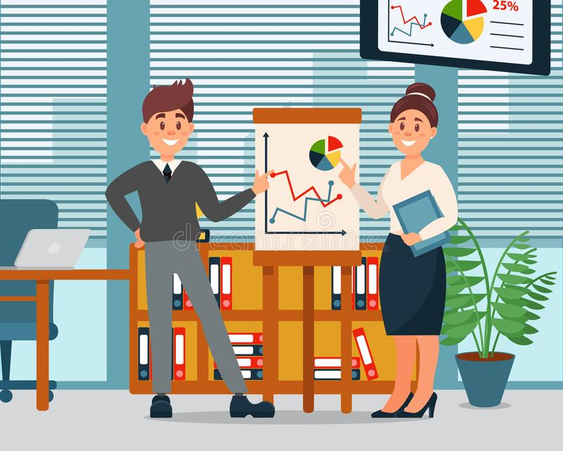 Geschäftsleute, die Informationsgraphiken auf Flip-Chart, Geschäftscharaktere arbeiten im Büro, modernes Büro erklären vektor abbildung