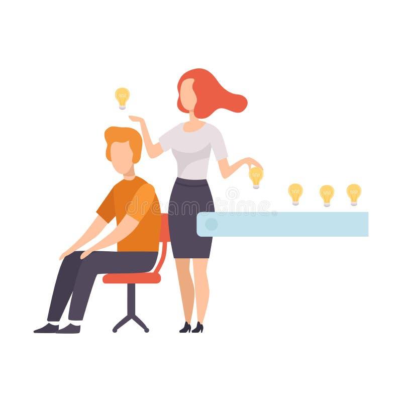 Geschäftsleute, die kreative Ideen, Brainstorming, Innovation, Kreativitäts-Konzept-Vektor-Illustration suchen und teilen lizenzfreie abbildung