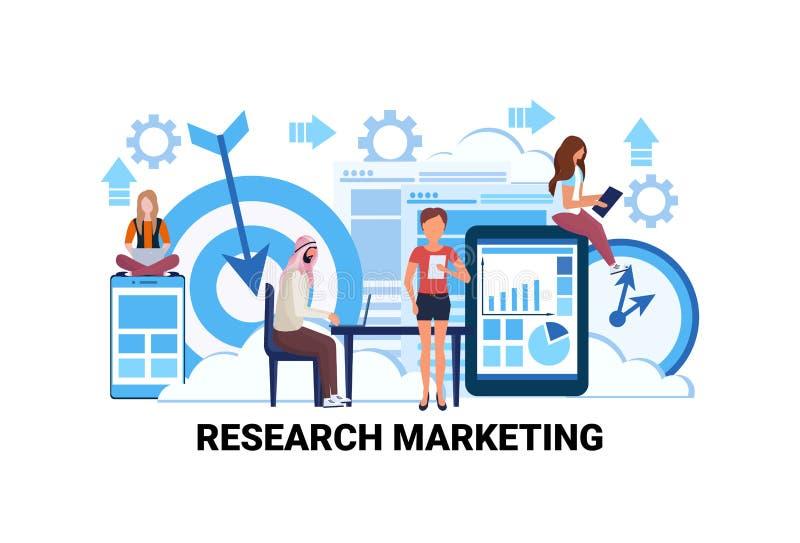 Geschäftsleute, die Marktforschungs-Prozentsatzmarketingstrategiekonzeptfinanzdiagrammanalytik-Mannfrauen gedanklich lösen lizenzfreie abbildung