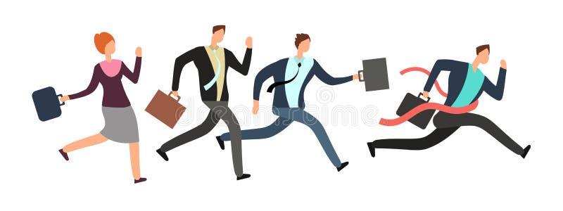 Geschäftsleute, die mit Führerüberfahrtziellinie laufen Teamwork- und Führungsvektorkonzept stock abbildung