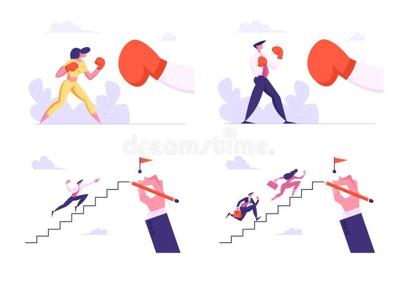 Geschäftsleute, die mit großem Handschuh boxen und oben klettern, um zu übersteigen Mann-und Frauen-Charakter-Kämpfen konkurrenz lizenzfreie abbildung