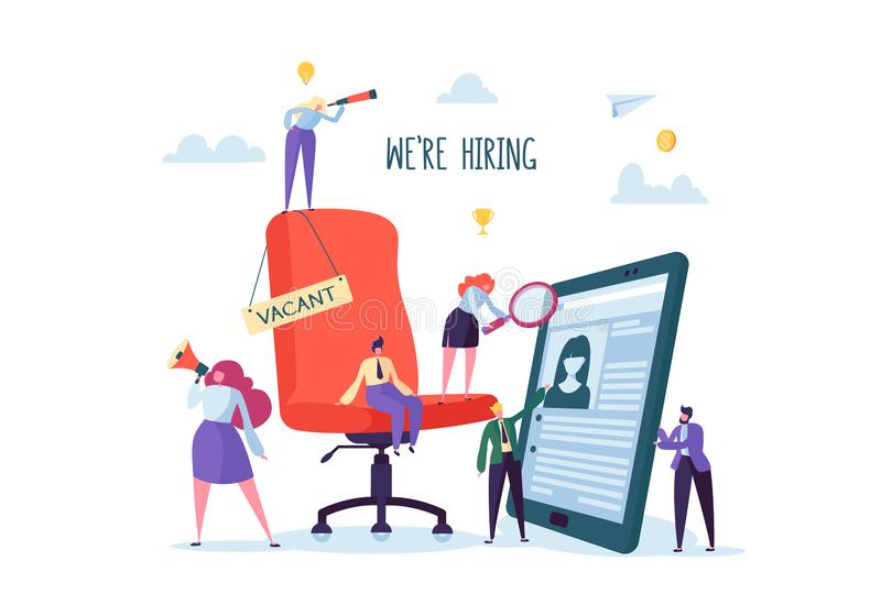Geschäftsleute, die neues Personal einstellen Bürostuhl mit Stellezeichen Hauptjäger Flache Charaktere überprüfen eine Zusammenfa stock abbildung