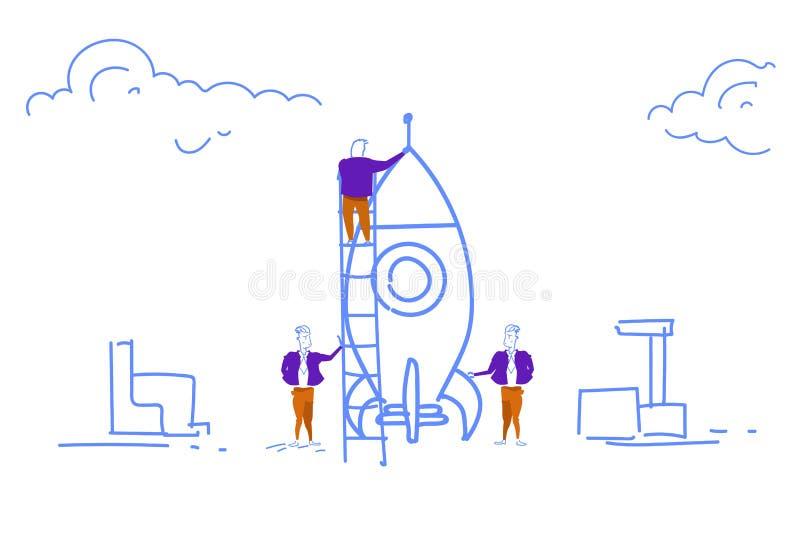 Geschäftsleute, die sich vorbereiten, Leiter des RaketenFirmenneugründungs-Projektkonzept-Mannes zu starten die kletternde bereit vektor abbildung