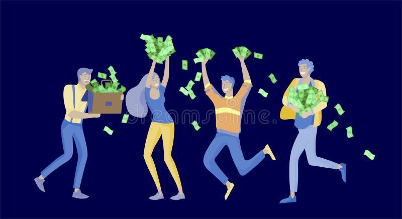 Geschäftsleute, die Sieg feiern Geschäftsteamstellung unter Geldregen Karikaturart, flache Vektorillustration vektor abbildung