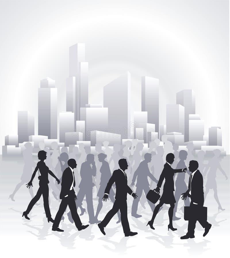 Geschäftsleute, die vor Stadt-Skylinen hetzen