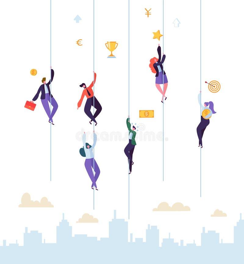 Geschäftsleute, die zum Erfolg klettern Geschäftsmann und Geschäftsfrau Characters Trying, zum Spitzen zu erhalten Ziel-Leistung lizenzfreie abbildung