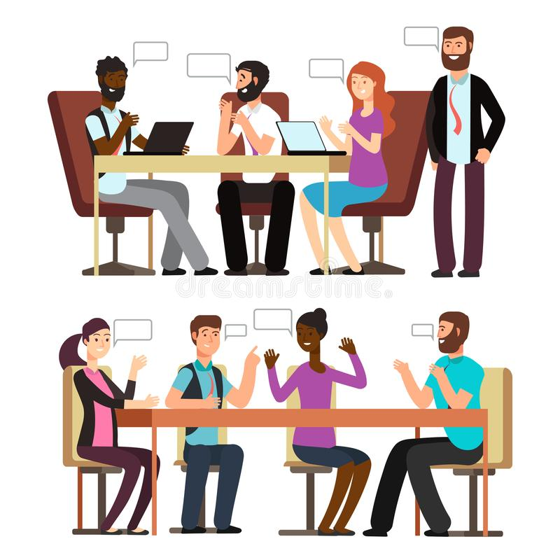 Geschäftsleute Gespräch in den Geschäftslagen im Büro lizenzfreie abbildung