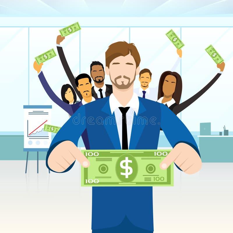 Geschäftsleute Gruppen-Griff-hundert Dollar stock abbildung