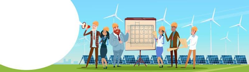 Geschäftsleute Gruppen-Windkraftanlage-Solarenergie-Platten-auswechselbare Stations-Darstellungs- stock abbildung