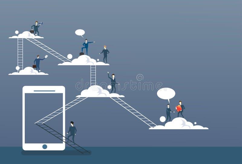 Geschäftsleute gruppieren auf Wolken, Verbindungs-Technologie-on-line-Internet-Unternehmensdatenzugriff lizenzfreie abbildung