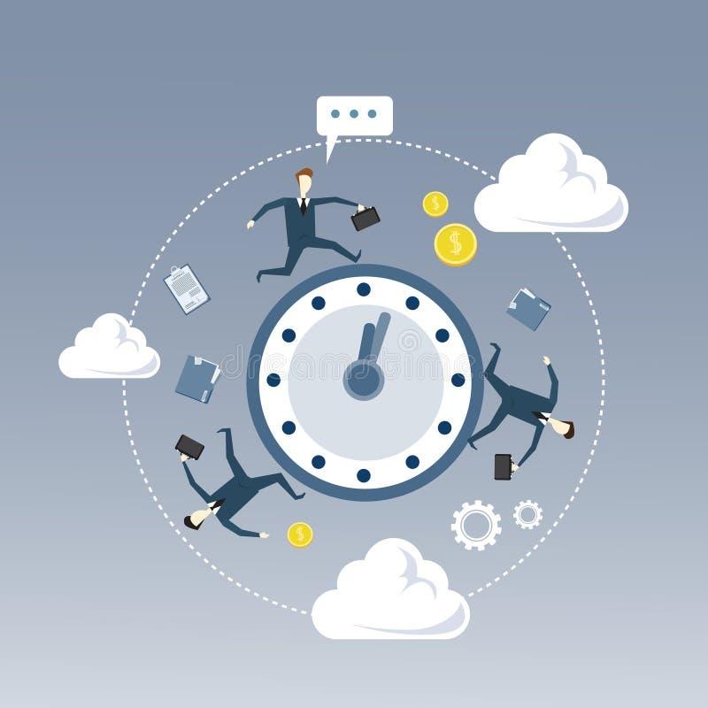 Geschäftsleute gruppieren das Drehen um Wecker-Fristen-Zeit-Management-Konzept lizenzfreie abbildung