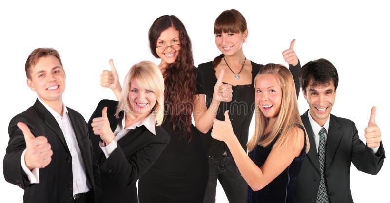 Geschäftsleute gruppieren mit okaygeste stockbilder