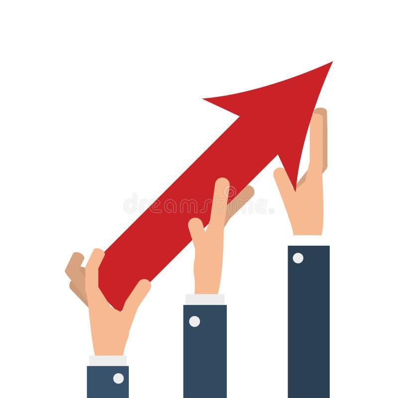 Geschäftsleute Hände mit Pfeil herauf Wachstum lizenzfreie stockfotos