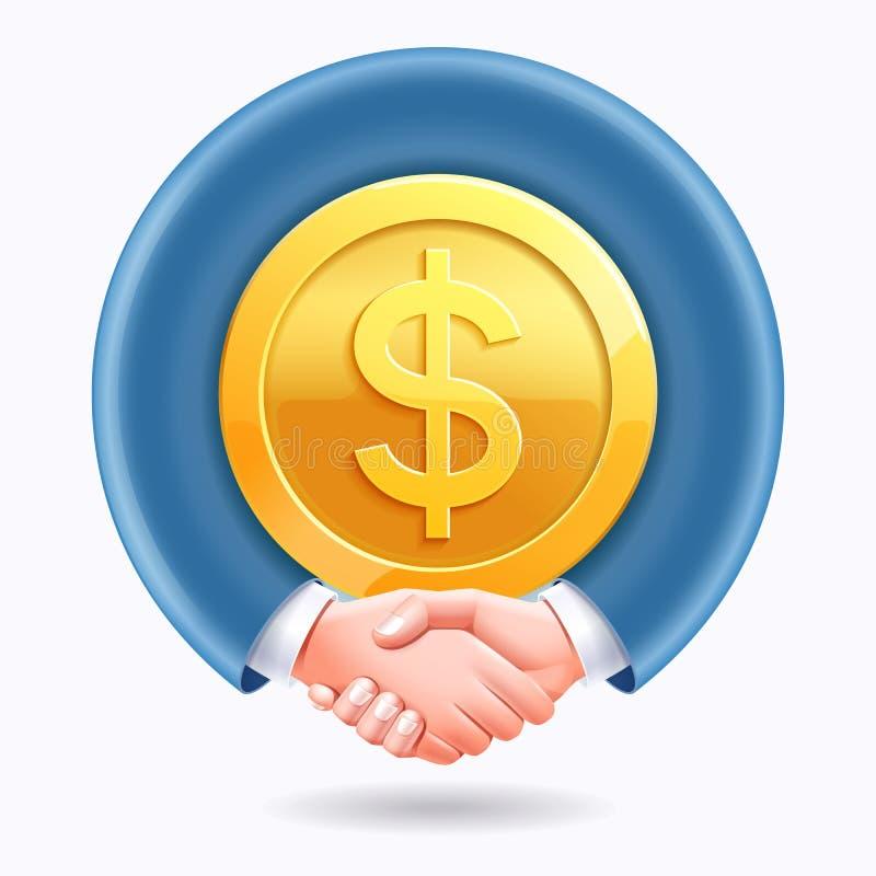 Geschäftsleute Händedruck um DollarGoldmünzehintergrund vektor abbildung